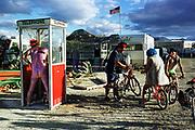 "A scene on the ""playa"" of Burning Man 2000, September 1, 2000."