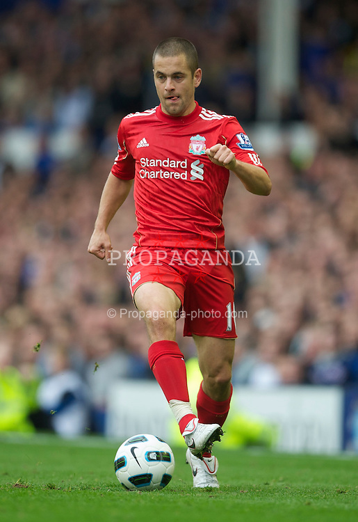 LIVERPOOL, ENGLAND - Sunday, October 17, 2010: Liverpool's Joe Cole in action against Everton during the 214th Merseyside Derby match at Goodison Park. (Photo by David Rawcliffe/Propaganda)