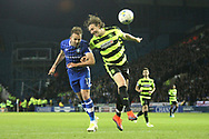 Huddersfield Town defender Michael Hefele (44) and Sheffield Wednesday forward Jordan Rhodes (17 during the EFL Sky Bet Championship play off second leg match between Sheffield Wednesday and Huddersfield Town at Hillsborough, Sheffield, England on 17 May 2017. Photo by John Potts.