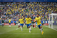 Neymar of Brazil celebrates after his goal during the 2018 FIFA World Cup Russia, round of 16 football match between Brazil and Mexico on July 2, 2018 at Samara Arena in Samara, Russia - Photo Thiago Bernardes / FramePhoto / ProSportsImages / DPPI