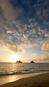 Sunrise, Lanikai Beach, Mokulua Islands, Kailua, Oahu, Hawaii