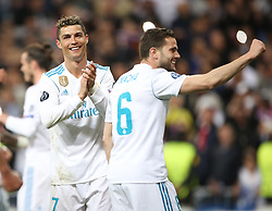 May 1, 2018 - Madrid, Spain - Cristiano Ronaldo of Real Madrid celebrates victory after the UEFA Champions League Semi Final Second Leg match between Real Madrid and Bayern Muenchen at the Bernabeu on May 1, 2018 in Madrid, Spain. (Credit Image: © Raddad Jebarah/NurPhoto via ZUMA Press)