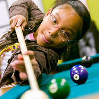 Community leaders are trying to figure out how to fund continued operation of the Jim Parsley  Center where kids like Eriah Benavente plays pool with Boys and Girls Club Wednesday, May 7, 2008 <br /> (The Columbian/ N. Scott Trimble)