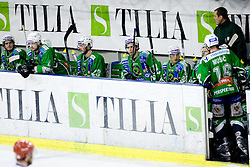 Nejc Berlisk of Tilia Olimpija, Igor Cvetek of Tilia Olimpija, Damjan Dervaric of Tilia Olimpija, Jure Kralj of Tilia Olimpija, Erik Pance of Tilia Olimpija and Coach Hannu Jarvanpaa at 6th Round of ice-hockey Slovenian National Championships match between HDD Tilia Olimpija and HK Acroni Jesenice, on April 2, 2010, Hala Tivoli, Ljubljana, Slovenia.  Acroni Jesenice won 3:2 after overtime and became Slovenian National Champion 2010. (Photo by Vid Ponikvar / Sportida)