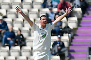Kyle Abbott of Hampshire appeals for an lbw against Adam Lyth of Yorkshire which was given not out during the Specsavers County Champ Div 1 match between Hampshire County Cricket Club and Yorkshire County Cricket Club at the Ageas Bowl, Southampton, United Kingdom on 11 April 2019.