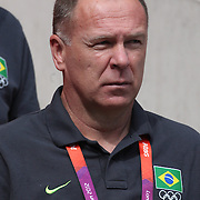Brazilian coach Mano Menezes, during the Brazil V Mexico Gold Medal Men's Football match at Wembley Stadium during the London 2012 Olympic games. London, UK. 11th August 2012. Photo Tim Clayton