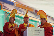 Monks of Drepung are chanting for the opening of the geshema ceremony at Drepung Lachi in Mundgod, Karnataka, India on December 22, 2016.