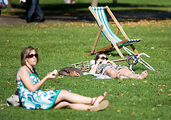 © licensed to London News Pictures. London, UK  30/09/2011. People bathing in sunshine in Hyde Park, London today (30/09/2011) as a heatwave continues throughout the Britian setting record temperatures for September. Photo credit London News Pictures