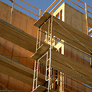Scaffolds around a new apartment construction project
