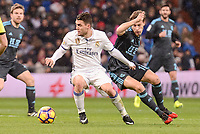 Real Madrid's Mateo Kovacic and Real Sociedad's Sergio Canales during La Liga match between Real Madrid and Real Sociedad at Santiago Bernabeu Stadium in Madrid, Spain. January 29, 2017. (ALTERPHOTOS/BorjaB.Hojas)