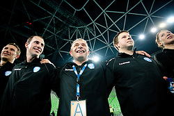 Andrej Potrata, Grega Karpan, Tone Tiselj, Uros Bregar of Krim celebrate after the handball match between RK Krim Mercator and Larvik HK (NOR) of Women's EHF Champions League 2011/2012, on November 13, 2011 in Arena Stozice, Ljubljana, Slovenia. Larvik defeated Krim 22-19 but both teams qualified to new round. (Photo By Vid Ponikvar / Sportida.com)