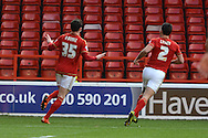 Nottingham Forest midfielder Oliver Burke celebrates goal during the Sky Bet Championship match between Nottingham Forest and Bolton Wanderers at the City Ground, Nottingham, England on 16 January 2016. Photo by Alan Franklin.
