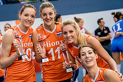 01-10-2017 AZE: Final CEV European Volleyball Nederland - Servie, Baku<br /> Nederland verliest opnieuw de finale op een EK. Servië was met 3-1 te sterk / Dreamteam 2017 met Laura Dijkema #14 of Netherlands, Anne Buijs #11 of Netherlands, Lonneke Sloetjes #10 of Netherlands. MVP was niet Robin de Kruijf #5 of Netherlands