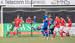 RHYL, WALES - Saturday, September 2, 2017: Iceland score their second goal during an Under-19 international friendly match between Wales and Iceland at Belle Vue. (Pic by Gavin Trafford/Propaganda)