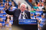 Senator Bernie Sanders speaks at a campaign rally on the campus of Penn State University.