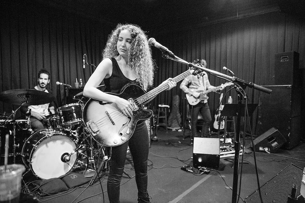 LOS ANGELES, CA - OCTOBER 28: Australian musician Tal Wilkenfeld rehearses at SIR Studios on October 28, 2015 in Los Angeles, California. (PHOTO CREDIT: EricMTownsend.com)