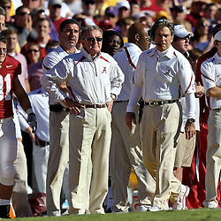 November 6, 2010; Baton Rouge, LA, USA;  Alabama Crimson Tide head coach Nick Saban watches from the sideline during the first half against the LSU Tigers at Tiger Stadium.  Mandatory Credit: Derick E. Hingle