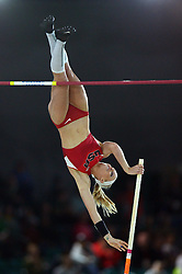 Sandi Morris of the United States competes during the Women's Pole Vault Final during day one of the IAAF World Indoor Championships at Oregon Convention Center in Portland, Oregon, the United States, on March 17, 2016. Sandi Morris won the second place with 4.85 meters. EXPA Pictures © 2016, PhotoCredit: EXPA/ Photoshot/ Yin Bogu<br /> <br /> *****ATTENTION - for AUT, SLO, CRO, SRB, BIH, MAZ, SUI only*****