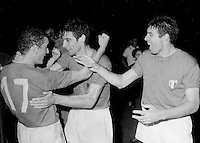 "Uefa Euro 1968 Italy - Final Tournament - Final Match -<br /> Italy vs Jugoslavia 2-0  ( Olympic Stadium - Roma , Italy ) -<br /> The Italian players (L-R) Luigi Riva "" Gigi Riva "", Angelo Domenghini and Alessandro Salvadore ,<br /> celebrates fot the victory of Uefa Euro 1968 , after the match between Italy and Jugoslavia"