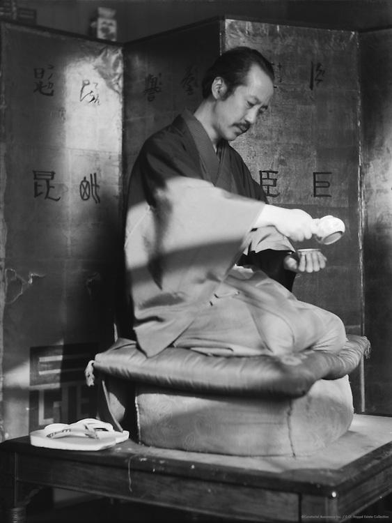 Take Sato, Japanese painter, pouring tea, c1933