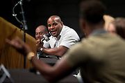 DALLAS, TX - MAY 12:  Daniel Cormier speaks to Jon Jones during the UFC Summer Kickoff Press Conference at the American Airlines Center on May 12, 2017 in Dallas, Texas. (Photo by Cooper Neill/Zuffa LLC/Zuffa LLC via Getty Images) *** Local Caption *** Daniel Cormier