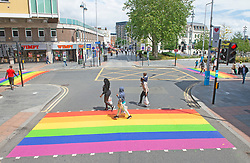 ©Licensed to London News Pictures 16/06/2020<br /> Woolwich, UK. Three colourful crossings in Woolwich town centre, Woolwich. Rainbow pedestrian crossings return to Greenwich Borough to show support for Gay pride month. Crossings in Eltham,Greenwich, plumstead,Charlton and Woolwich have had a rainbow make over bringing some colour to the streets in South East London. Photo credit: Grant Falvey/LNP