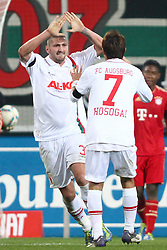 06.11.2011, SGL Arena, Augsburg, GER, 1.FBL, FC Augsburg vs. FC Bayern Muenchen, im Bild Jubel nach dem Tor zum 1-2 Sascha Moelders (Augsburg #33) und Hajime Hosogai (Augsburg #7)  // during the match  FC Augsburg vs. FC Bayern Muenchen , on 2011/11/06, SGL Arena, Augsburg, Germany, EXPA Pictures © 2011, PhotoCredit: EXPA/ nph/  Straubmeier       ****** out of GER / CRO  / BEL ******