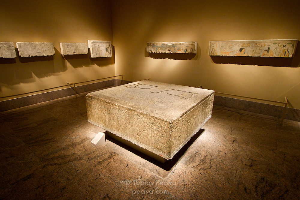 Pieces of Egyptian art on display in the Metropolitan Museum of Art, in Manhattan, New York.