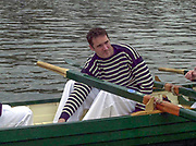 """Putney. London.  2004 University Boat Race,  Championships Course, Putney to Mortlake. <br /> Re enactment row Boat Race. , Cambridge and Oxford . OUBC Boating from the  """"Hard"""" Pete BRIDGE.  to complete [Mandatory Credit Peter SPURRIER]"""