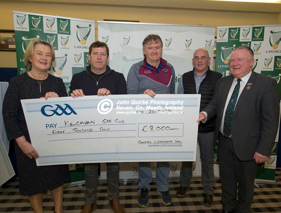 20-01-20. Leinster GAA Club Development Grant Cheque Presentations (See Press Release) at Aras Laighean, Portlaoise.<br /> GAA National Finance Manager Kathy Slattery and Jim Bolger (Right), Cathoirleach, Comhairle Laighean pictured presenting a cheque for €8,000 to Kilcavan GAA Club. Co. Laois represented by from left, Tom Hunt, Chairman. Jim White, Treasurer and P. J. Kelly, Development Officer, Laois GAA.<br /> Photo: John Quirke / www.quirke.ie<br /> ©John Quirke Photography, Unit 17, Blackcastle Shopping Cte. Navan. Co. Meath. 046-9079044 / 087-2579454.