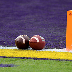 Sep 26, 2020; Baton Rouge, Louisiana, USA; A general view of footballs placed on the field prior to kickoff between the LSU Tigers and the Mississippi State Bulldogs at Tiger Stadium. Mandatory Credit: Derick E. Hingle-USA TODAY Sports