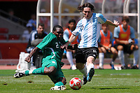 Fotball<br /> OL 2008 Beijing<br /> Finale<br /> Argentina v Nigeria 1-0<br /> Foto: Inside/Digitalsport<br /> NORWAY ONLY<br /> <br /> Lionel Messi Argentina (R) and Chibuzor Okonkwo of Nigeria, during the Olympic Games final. Argentina beats Nigeria 1-0 and won the gold medal