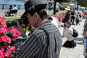 people taking pictures of red roses in full bloom Japan Yokozuka