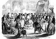 Spiritualist meeting in a Paris drawing room. Communicating with the 'other side' by means of  the hat, table-turning, and the pendulum. From 'L'Illustration' (Paris 1853). Wood engraving.