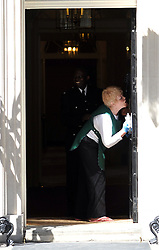 The front door is cleaned of  Number 10 Downing St for the arrival of  US President Barack Obama and the first Lady Michelle, Tuesday May 24, 2011. Photo By Andrew Parsons/ Parsons Media