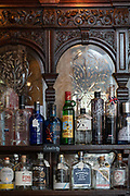 Gin bottles at the Viaduct Tavern gin bar on the 3rd October 2019 in London in the United Kingdom.