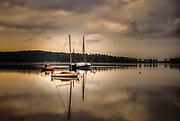 Sailboats in the lagoon. Pelion, Greece