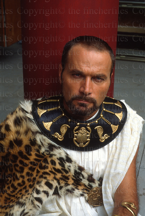 Italian actor Franco Nero seen on the set of 'Last Days of Pompeii' in August 1983. Photographed BY terry Fincher