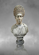 Roman marble sculpture bust of an unkown women, Late Trajan period 98-117 AD , inv 6074 Farnese Collection, Naples  Museum of Archaeology, Italy ..<br /> <br /> If you prefer to buy from our ALAMY STOCK LIBRARY page at https://www.alamy.com/portfolio/paul-williams-funkystock/greco-roman-sculptures.html . Type -    Naples    - into LOWER SEARCH WITHIN GALLERY box - Refine search by adding a subject, place, background colour, etc.<br /> <br /> Visit our ROMAN WORLD PHOTO COLLECTIONS for more photos to download or buy as wall art prints https://funkystock.photoshelter.com/gallery-collection/The-Romans-Art-Artefacts-Antiquities-Historic-Sites-Pictures-Images/C0000r2uLJJo9_s0