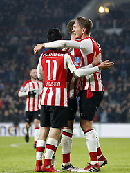 (L-R) Hirving Lozano of PSV, Marco van Ginkel of PSV, Luuk de Jong of PSV during the Dutch Eredivisie match between PSV Eindhoven and PEC Zwolle at the Phillips stadium on February 03, 2018 in Eindhoven, The Netherlands