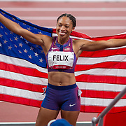 TOKYO, JAPAN August 6:   Allyson Felix of the United States after winning the bronze medal from in 400m for women making her the most decorated female olympic runner during the Track and Field competition at the Olympic Stadium  at the Tokyo 2020 Summer Olympic Games on August 6th, 2021 in Tokyo, Japan. (Photo by Tim Clayton/Corbis via Getty Images)