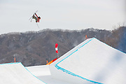 Alex Bellemare, Canada, at thePyeongchang 2018 Winter Olympics men's freestyle ski slopestyle qualifications on February 18th 2017, at the Phoenix Snow Park inPyeongchang-gun, South Korea.