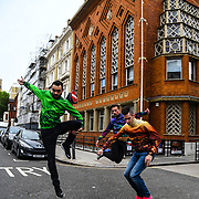 Photocall: Christine and the Queens dancers perform at the launch of FranceDance UK by FranceDance UK by (LA)HORDE - Choreography by Marine Brutti with casts  Kevin 'MRCOVIN' MARTINELLI (Green), Edgar 'Edx' Scassa (Orange) and Mathieu douay 'magiix (multicolor) on 10 July 2019, Institut français, London, UK.