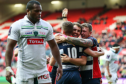 Billy Searle of Bristol Rugby celebrates with Jack Wallace and Max Crumpton after scoring a try - Rogan Thomson/JMP - 11/12/2016 - RUGBY UNION - Ashton Gate Stadium - Bristol, England - Bristol Rugby v Pau - European Rugby Challenge Cup.