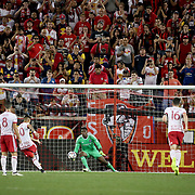 HARRISON, NEW JERSEY- AUGUST 25: Gonzalo Veron #30 of New York Red Bulls beats Sean Johnson #1 of New York City FC from the penalty sport to equalize during the New York Red Bulls Vs New York City FC MLS regular season match at Red Bull Arena, Harrison, New Jersey on August 25, 2017 in Harrison, New Jersey. (Photo by Tim Clayton/Corbis via Getty Images)