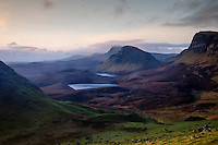 SCOTLAND - CIRCA APRIL 2016: Sunrise in the Quiraing a popular tourist attraction near Staffin in Skye an Island in Scotland