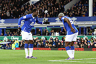 Romelu Lukaku of Everton (l) dances as he celebrates with his teammate Arouna Kone after scoring his teams 4th goal. Barclays Premier League match, Everton v Aston Villa at Goodison Park in Liverpool on Saturday 21st November 2015.<br /> pic by Chris Stading, Andrew Orchard sports photography.