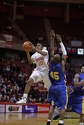 20 February 2010: Terry Johnson flies past Les Simmons on his way to the hoop. The Redbirds of Illinois State bust the Eagles of Morehead State in an ESPN Bracketbuster game 71-62 on Doug Collins Court inside Redbird Arena at Normal Illinois.