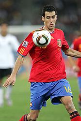 07-07-2010 VOETBAL: FIFA WORLDCUP 2010 SPANJE - DUITSLAND: DURBAN<br /> Halve finale WC 2010 - Spanje wint met 1-0 van Duitsland / Sergio Busquets of Spain<br /> ©2010-FRH- NPH/ Kokenge (Netherlands only)