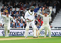 Cricket - 2017 South Africa Tour of England - Third Test, Day Two<br /> <br /> England debutant, Toby Roland - Jones gets his third wicket during the afternoon session as Jonathan Bairtstow confirms at The Oval.<br /> <br /> COLORSPORT/ANDREW COWIE